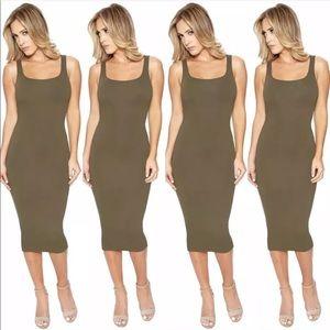 1098c133ba ... New Naked Wardrobe nw tank olive midi dress ...